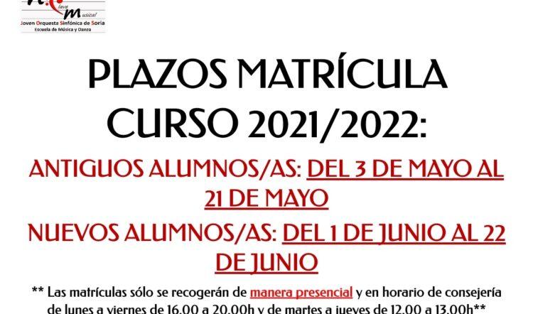 MATRÍCULA CURSO 2021/2022
